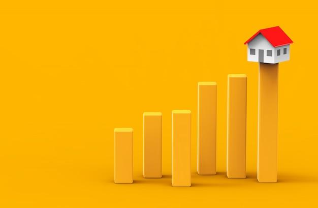 成長の不動産コンセプト。ビジネスグラフと家。 3dイラストレーション。