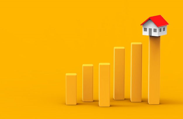 Growth real estate concept. business graph and home. 3d illustration.