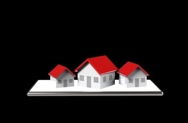 成長の不動産オンラインコンセプト。携帯電話の家のグループ。 3dイラストレーション。