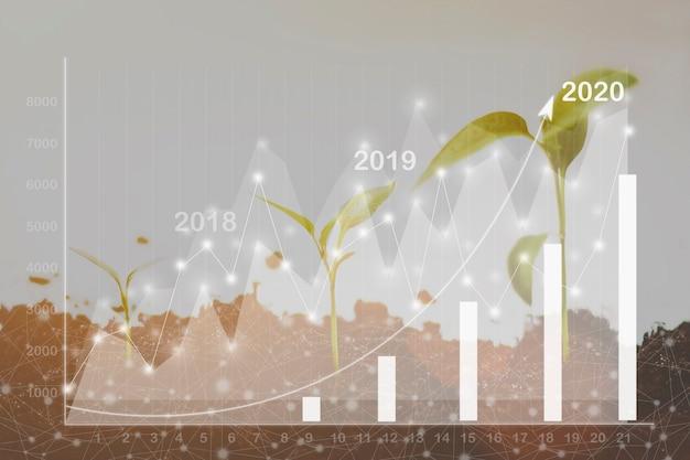 成長シーケンス-株式市場のグラフと上向き矢印を使用して、白い背景に対して分離された、徐々に背が高くなる一連の苗木。白い背景の上のさまざまなサイズの小さな木。