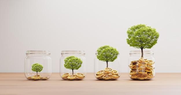 Дерево роста внутри прозрачной банки с золотыми монетами на деревянном столе для инвестиций и банковской концепции финансового сбережения с помощью 3d-рендеринга.