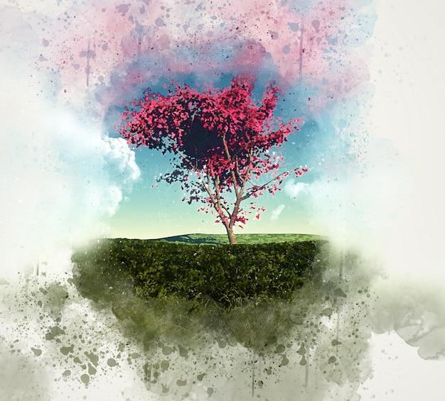 グランジ3dメイプルツリーの風景