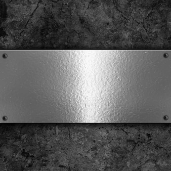 Sfondo grunge con piastra metallica e rivetti