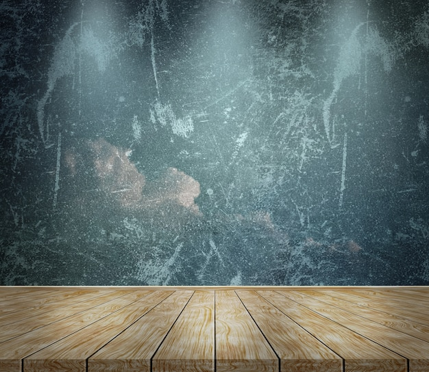 Grunge background with three spotlights shining down
