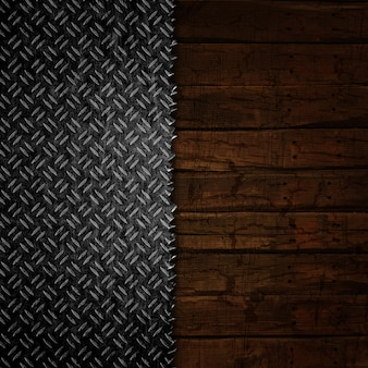 Grunge background with wood and metal textures