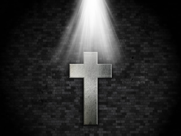 Grunge brick wall background with metallic cross design