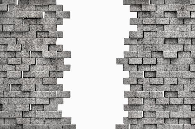 白い背景で隔離のグランジレンガの壁