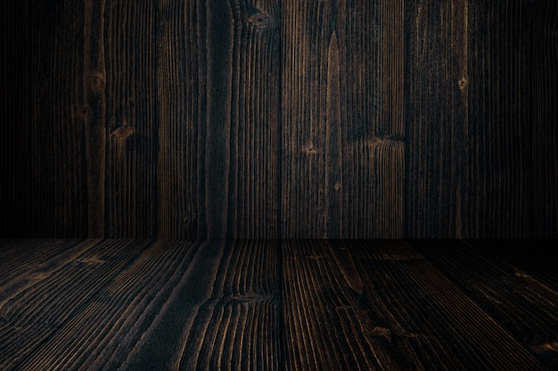 Grunge dark wood background wall and floor. wooden texture. surface, display backdrop