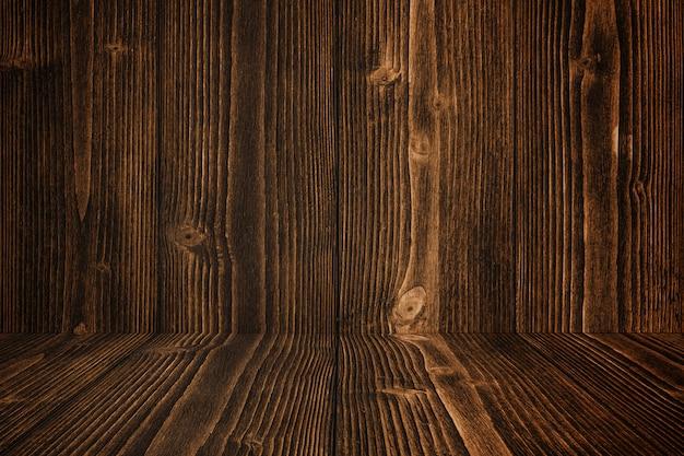 Grunge dark wood background wall and floor. wooden texture