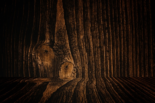 Grunge dark wood background wall and floor