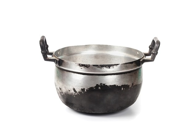 Grunge and dirty cooking pot isolated on white background