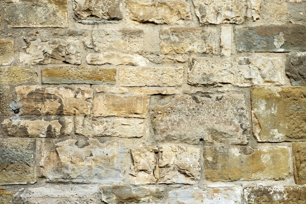 Grunge dirty old brick stone wall exterior on ancient temple architecture