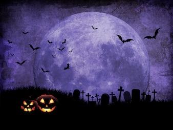 Grunge Halloween background with graveyard against moonlit sky