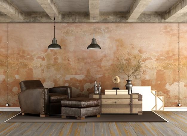 レトロな家具とグランジリビングルーム