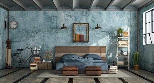 インダストリアルスタイルのグランジマスターベッドルーム