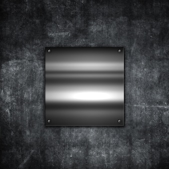 Grunge metal background with a shiny metallic plate