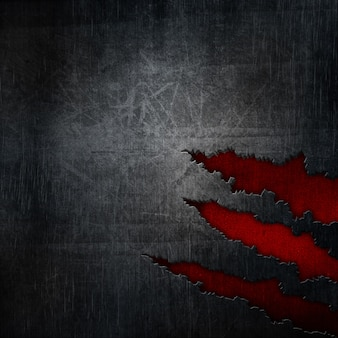 Grunge metal background with metallic tears over red texture
