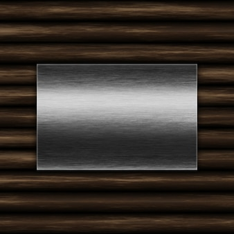 Grunge metal plate on an old wood background