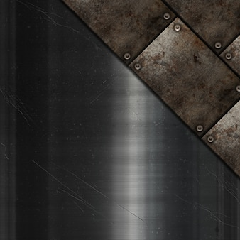 Grunge metal plates on scratched metallic texture