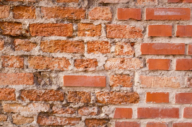 Grunge old bricklaying wall fragment background texture for text or image closeup