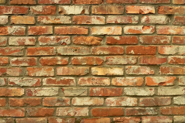 Grunge red brick wall background horizontal. old brick wall or fence.