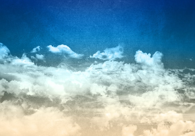 Grunge stile cielo azzurro con soffici nuvole bianche