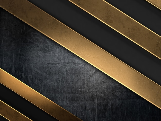 Grunge style background with gold metal stripes