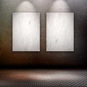 壁に空白の写真とグランジスタイルのインテリアのレンダリング3d