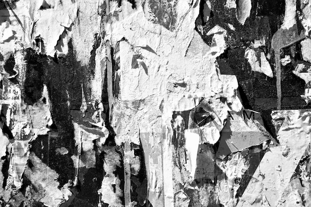 Grunge textured background with torn posters. black and white photo