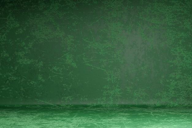 グランジ壁のスクラッチは、濃い緑色の塗料グランジ背景をぼかし。 3dレンダリング