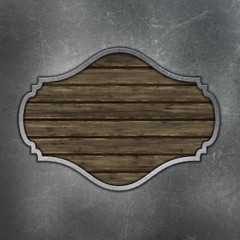 Grunge wooden plaque on stratched metal background