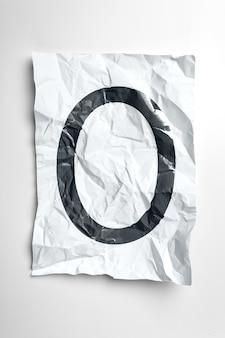 Grunge wrinkled paper letters on white background