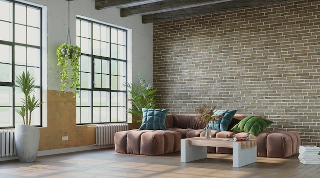 Grungy interior with brick wall and comfortable sofa industrial style 3d render