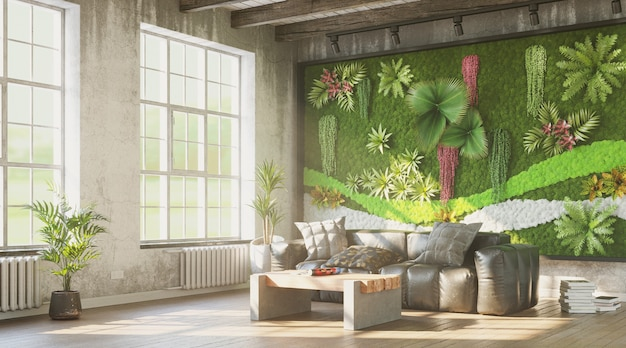 Grungy interior with green wall and comfortable sofa 3d render