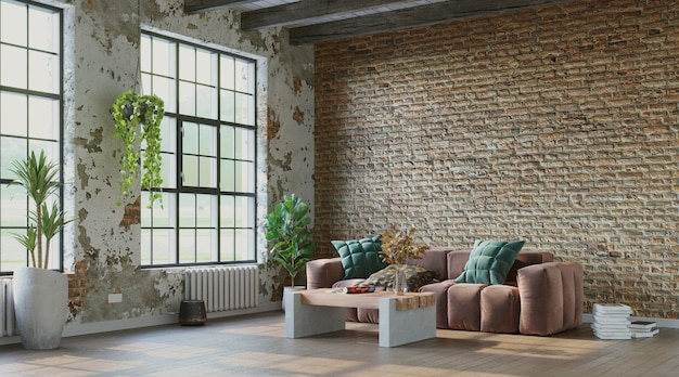 Grungy interior with rough brick walls and comfortable sofa industrial style 3d render
