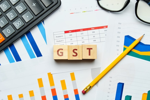 Gst goods and service tax identification number concept with graphs