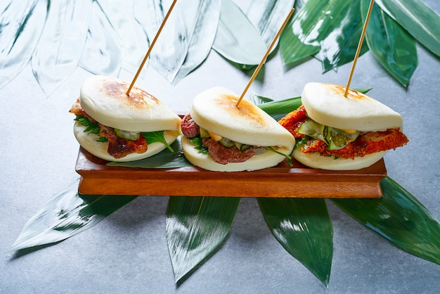 Gua bao meat and chicken asian food