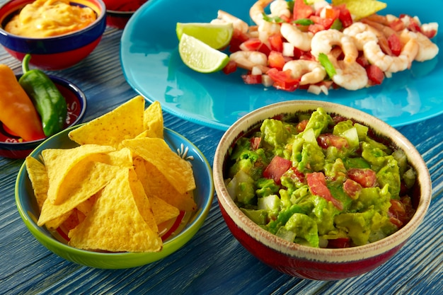 Guacamole mexican food with ceviche and nachos