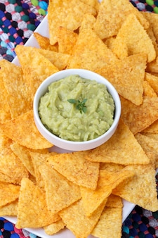 Guacamole with corn chips