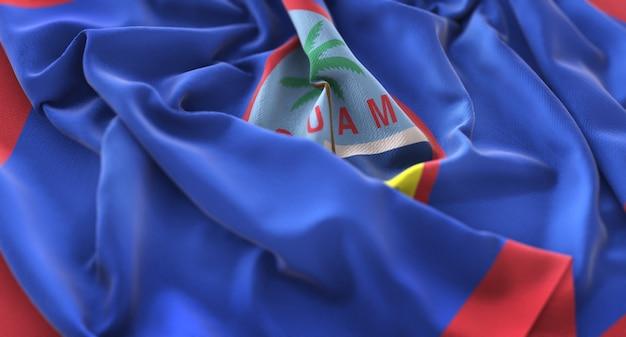 Bandiera di guam ruffled splendamente sventolando macro close-up shot