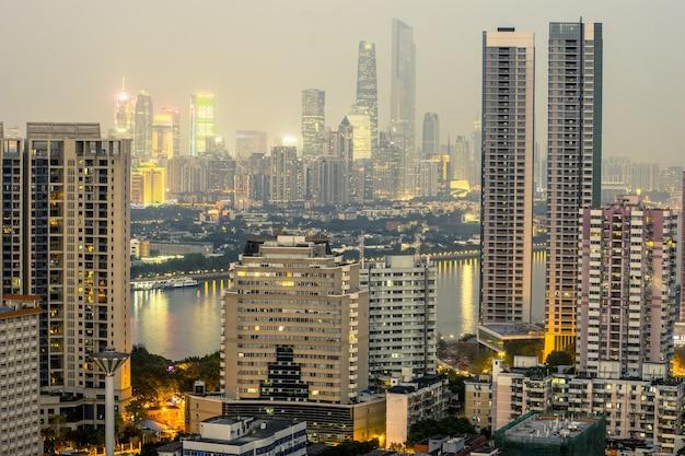 Guangzhou, china-jan. 7, 2015: guangzhou cbd view. twilight view