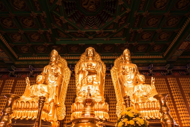 Guanyin is chinese god golden texture background
