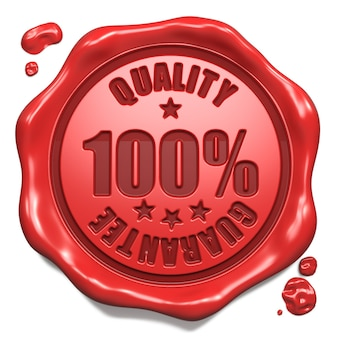 Гарантия качества - штамп на красной восковой печати, изолированные на белом. бизнес-концепция. 3d визуализация.