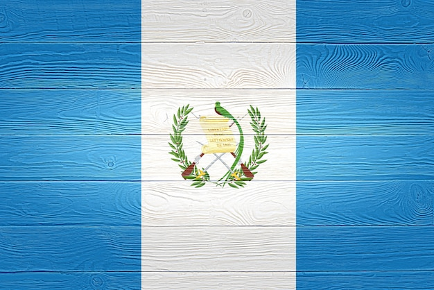 Guatemala flag painted on wooden planks
