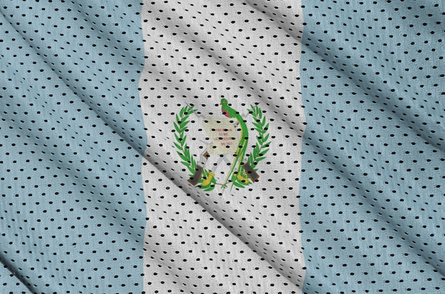 Guatemala flag printed on a polyester nylon sportswear mesh fabric