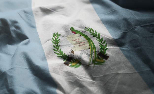 Guatemala flag rumpled close up