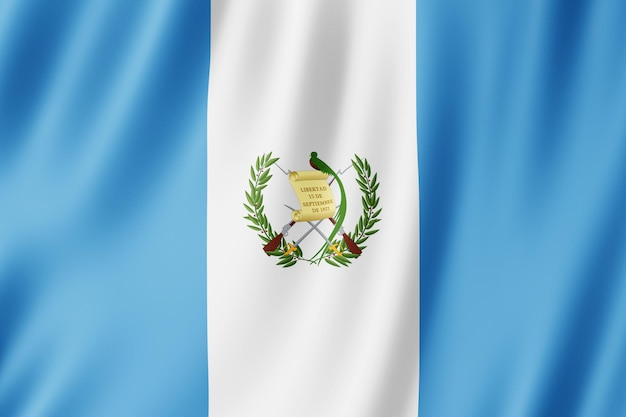 グアテマラの国旗が風になびく。