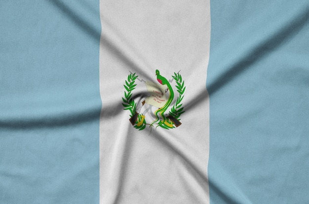 Guatemala flag with many folds.