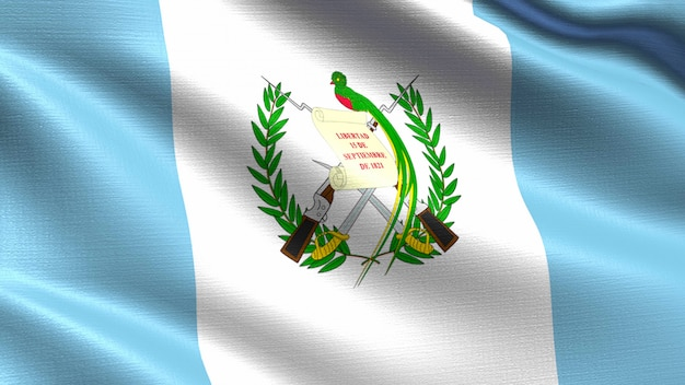 Guatemala flag, with waving fabric texture