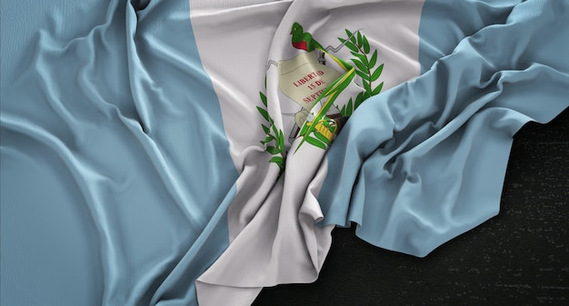 Guatemala flag wrinkled on dark background 3d render
